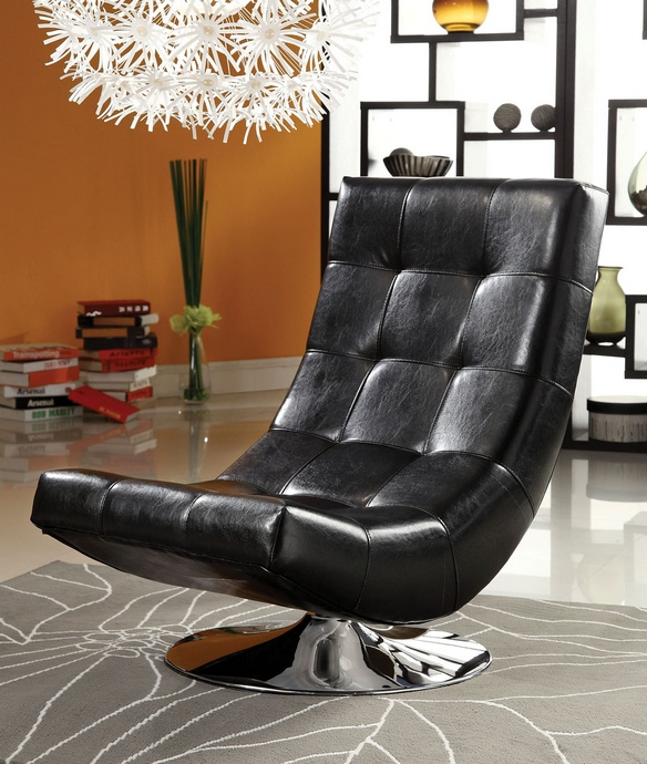 CM-AC6912BK Trinidad contemporary style black leather like vinyl hammock style tufted swivel scoop chair with chrome base