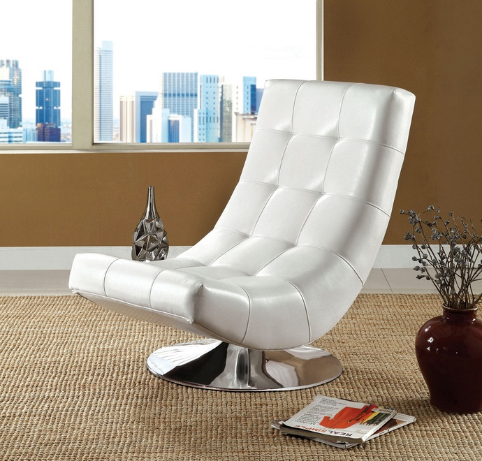 CM-AC6912W Trinidad contemporary style white leather like vinyl hammock style tufted swivel scoop chair with chrome base