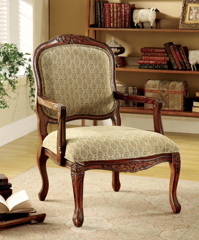 Furniture of america CM-AC6919 Quintus patterned fabric antique oak wood finish accent chair