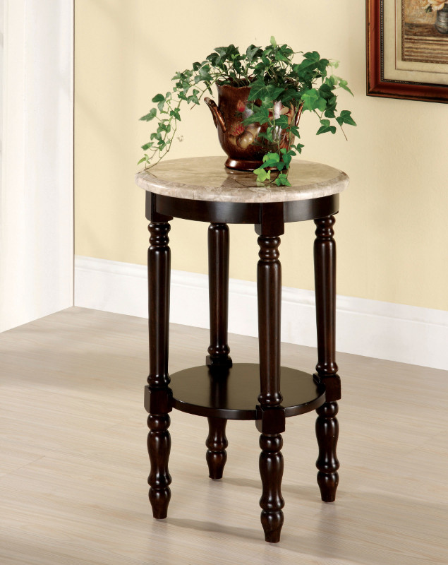 Furniture of america CM-AC788 Santa clarita dark cherry finish solid wood round marble table top side table