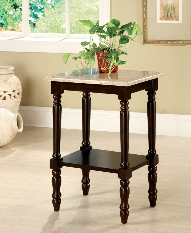 Furniture of america CM-AC789 Santa clarita dark cherry finish solid wood rectangular marble table top side table