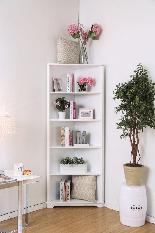 Furniture of america CM-AC806WH Rockwall white finish wood corner bookcase shelf unit