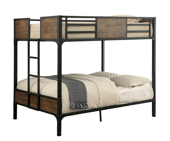 CM-BK029FF Clapton collection black finish metal frame industrial inspired style Full over Full bunk bed set