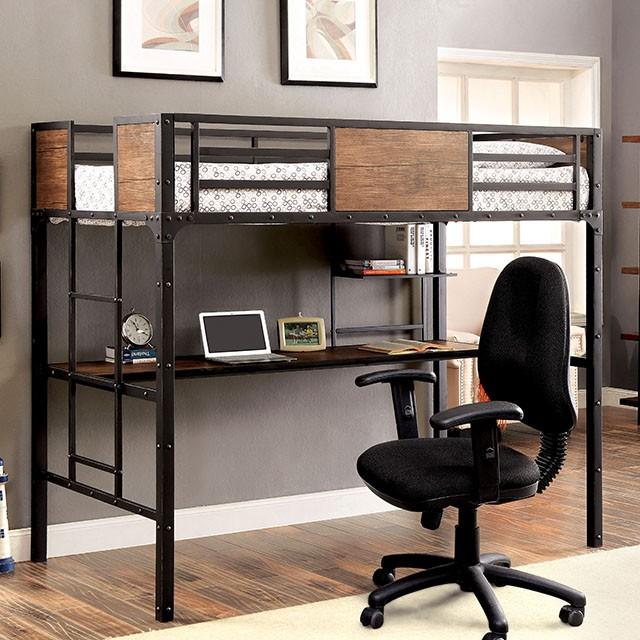 CM-BK029TD Clapton collection black finish metal frame industrial inspired style twin loft workstation bunk bed set