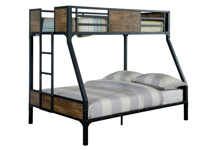 CM-BK029TF Clapton collection black finish metal frame industrial inspired style twin over full bunk bed set