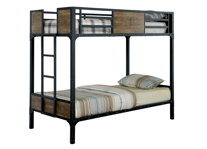 CM-BK029TT Clapton collection black finish metal frame industrial inspired style Twin over Twin bunk bed set