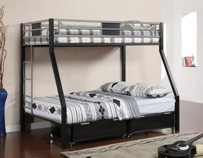 CM-BK1022 Clifton iv twin over full bunk bed two toned silver and black finish metal with built in ladder