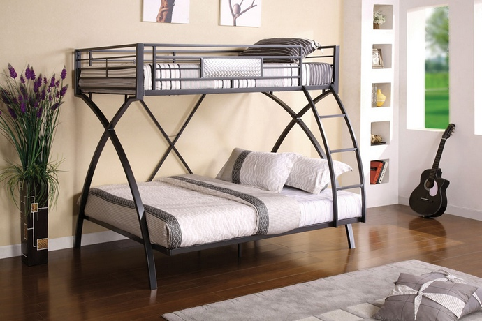 CM-BK1029 Apollo ii twin over full bunk bed set 2 - tone chrome and dark gray finish