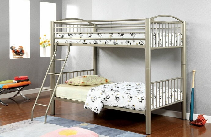 CM-BK1037T Lovia collection metallic gold finish Twin over Twin convertible bunk bed set with clean straight lines design