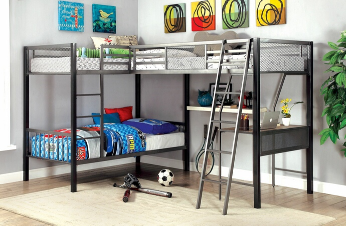 CM-BK1049 Ballarat collection gray and silver metal finish triple twin over twin over twin with workstation bunk bed set