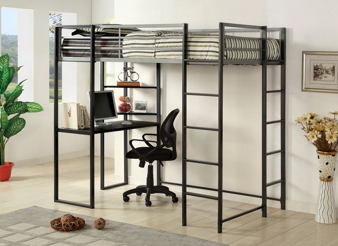 CM-BK1098T Sherman silver and gun metal finish metal frame twin size loft  bunk bed with desk are with shelves underneath
