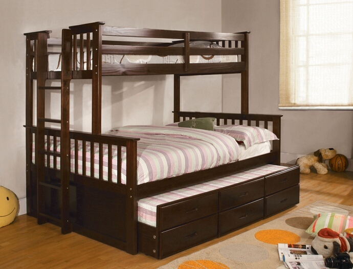 CM-BK458F-EXP University espresso finish wood twin over full mission style bunk bed set with twin trundle and drawers