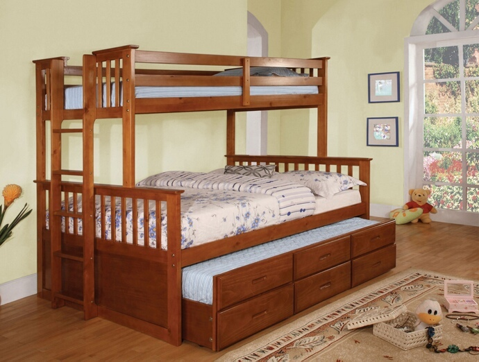 CM-BK458F-CTR-OAK University collection oak finish wood twin over full mission style bunk bed set with twin trundle and drawers