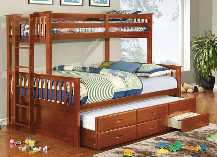 CM-BK458Q-CTR-OAK University collection oak finish wood twin over queen mission style bunk bed set with twin trundle and drawers