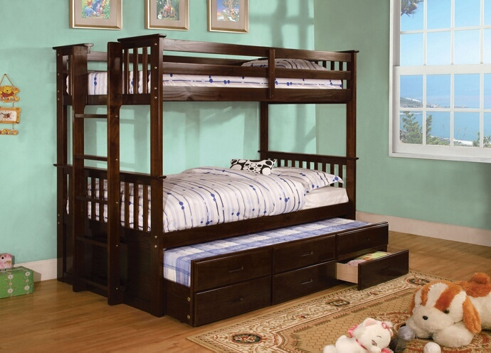CM-BK458T-CTR-EXP University collection espresso finish wood twin over twin mission style bunk bed set with twin trundle and drawers