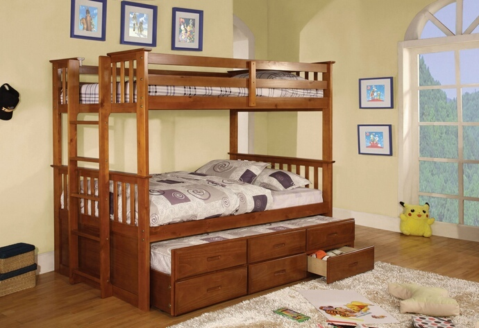 CM-BK458T-OAK University oak finish wood twin over twin mission style bunk bed set with twin trundle and drawers