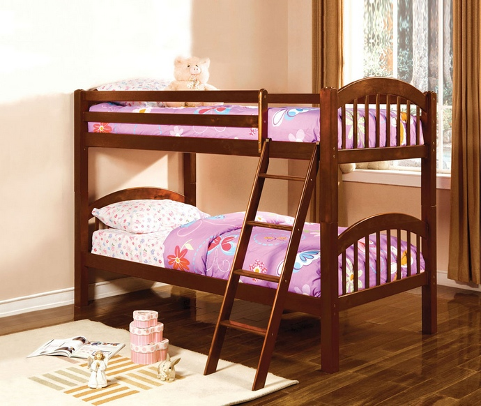 CM-BK524CH Coney island iii oak wood finish twin over twin  bunk bed  with front access angled ladder