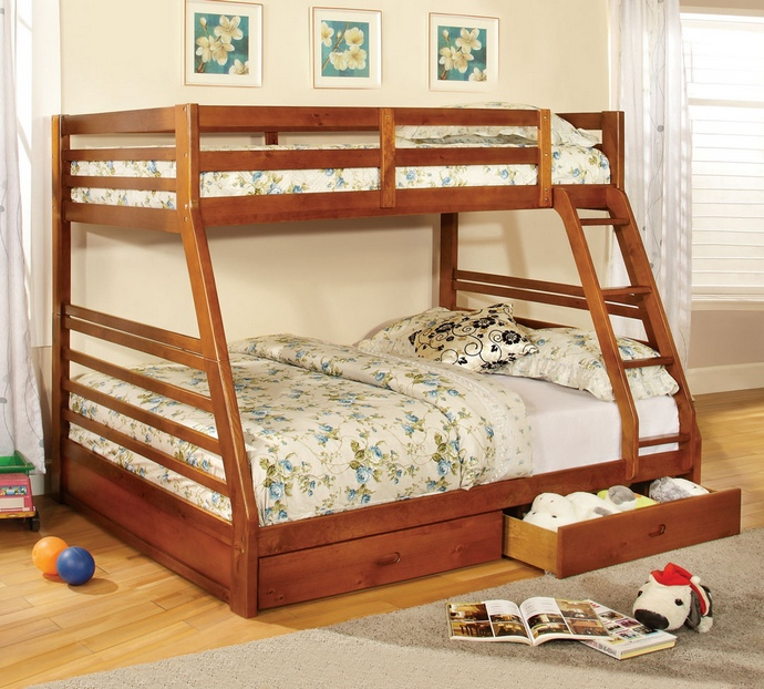 CM-BK588A California ii oak wood finish mission style twin over full bunk bed with front access ladder with 2 under bed drawers