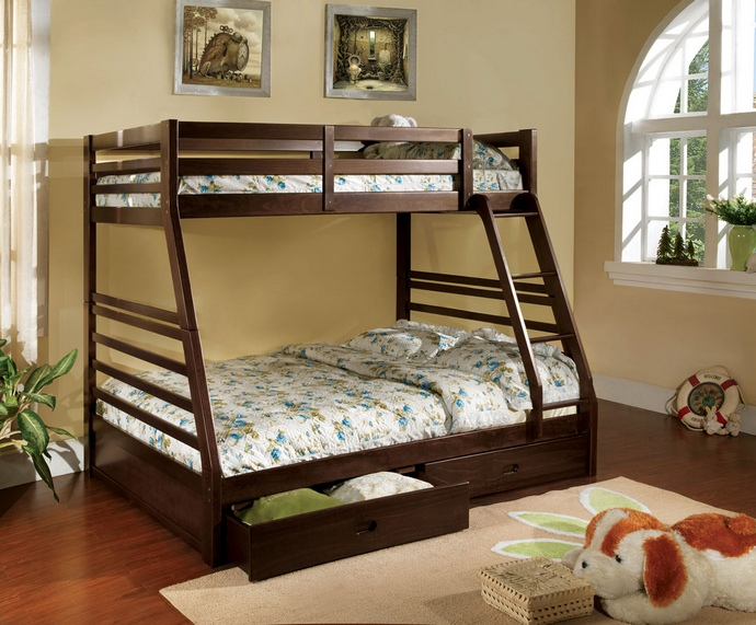 CM-BK588EX California II Dark Walnut Wood Finish Mission Style Twin over Full Bunk Bed with Front Access Ladder with 2 Under bed Drawers