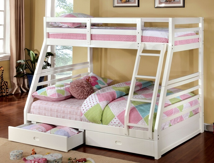 CM-BK588WH California III White Wood Finish Mission Style Twin over Full Bunk Bed with Front Access Ladder with 2 Under bed Drawers