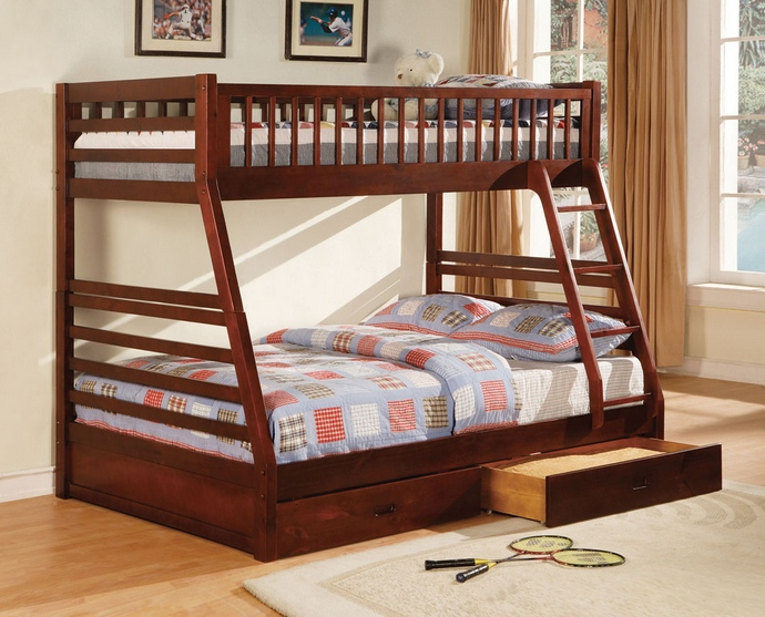 CM-BK601CH California ii  cherry wood finish mission style twin over full bunk bed with front access ladder with 2 under bed drawers