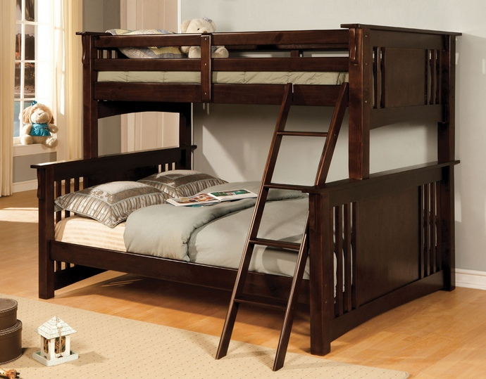 CM-BK602F-EXP Spring Creek I Espresso Finish Twin over Full Bunk Bed with Front Access Angled Ladder