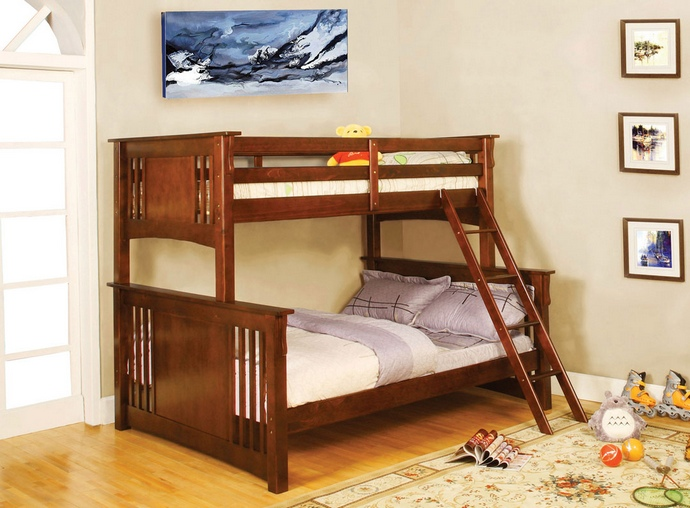 CM-BK602F-OAK Spring Creek I Dark Oak Finish Twin over Full Bunk Bed with Front Access Angled Ladder