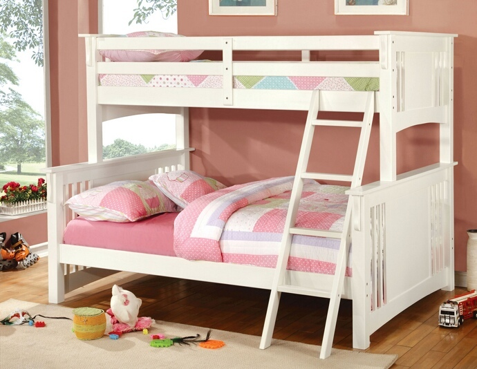 CM-BK602F-WHT Spring Creek I White Finish Twin over Full Bunk Bed with Front Angled Ladder