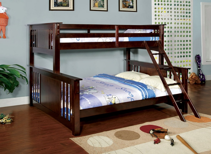 CM-BK604-EXP Spring creek iii dark walnut wood finish twin over queen bunk bed with front angled ladder