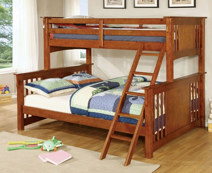 CM-BK604-OAK Spring creek iii oak wood finish twin over queen bunk ...