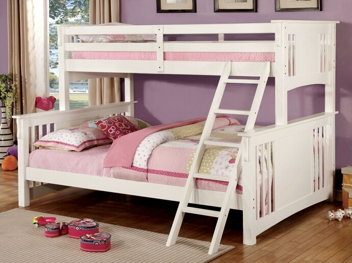 CM-BK604-WHT Spring Creek III White Wood Finish Twin Over Queen Bunk Bed with Front Angled Ladder