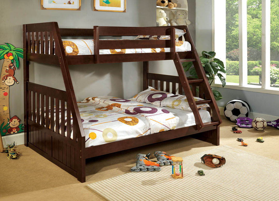CM-BK605EX-1 Canberra dark walnut finish wood Twin over Full bunk bed with mission style headboard and footboards