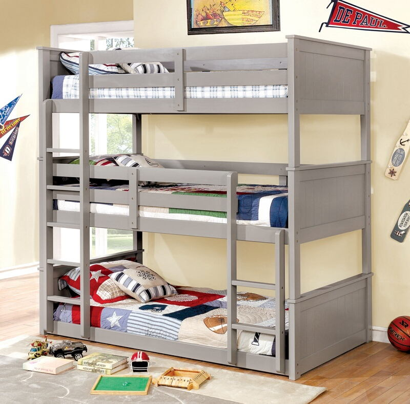 CM-BK628GY-T Therese collection triple twin bed twin over twin over twin gray finish wood bunk bed