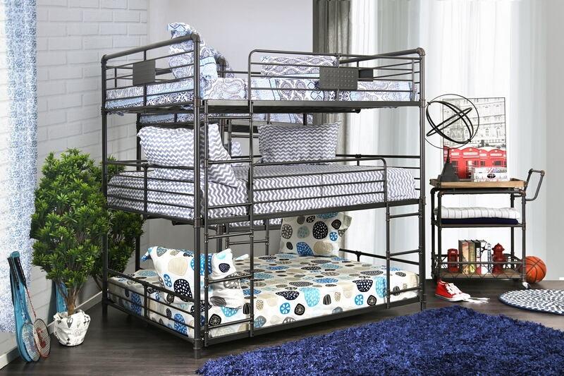 CM-BK912F Olga I collection triple full bed full over full over full antique black metal frame industrial bunk bed