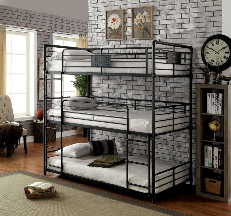 CM-BK912T Olga I collection triple twin bed twin over twin over twin antique black metal frame industrial bunk bed