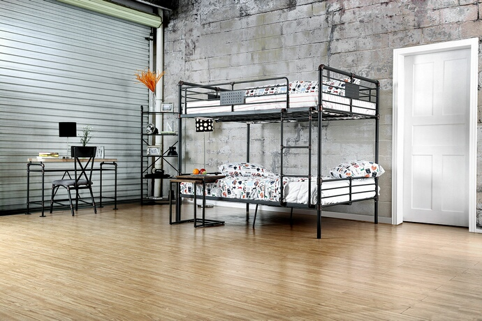 CM-BK913FF Olga I collection antique black finish metal frame industrial inspired style full over full bunk bed set