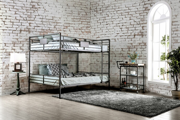 CM-BK913QQ Olga I collection antique black finish metal frame industrial inspired style queen over queen bunk bed set
