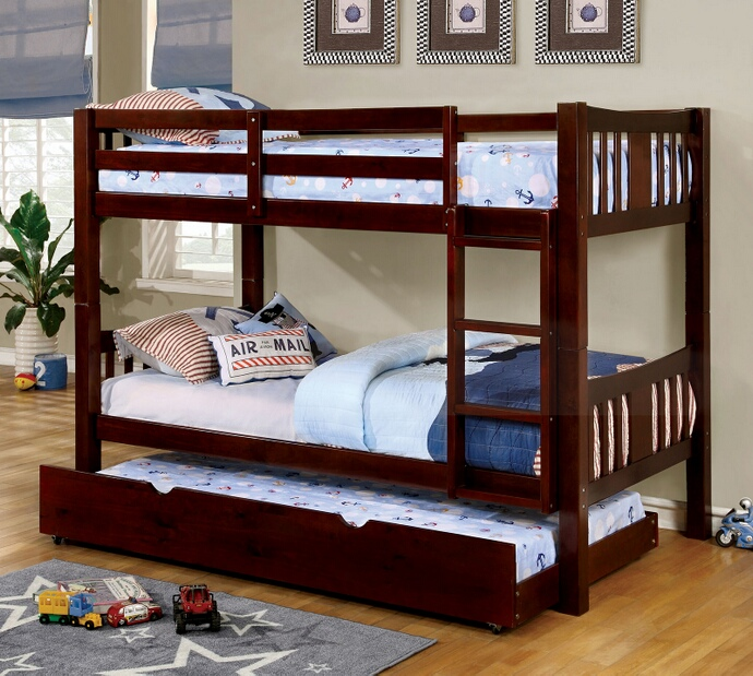 CM-BK929EX Cameron collection transitional style twin over twin dark walnut finish wood bunk bed set