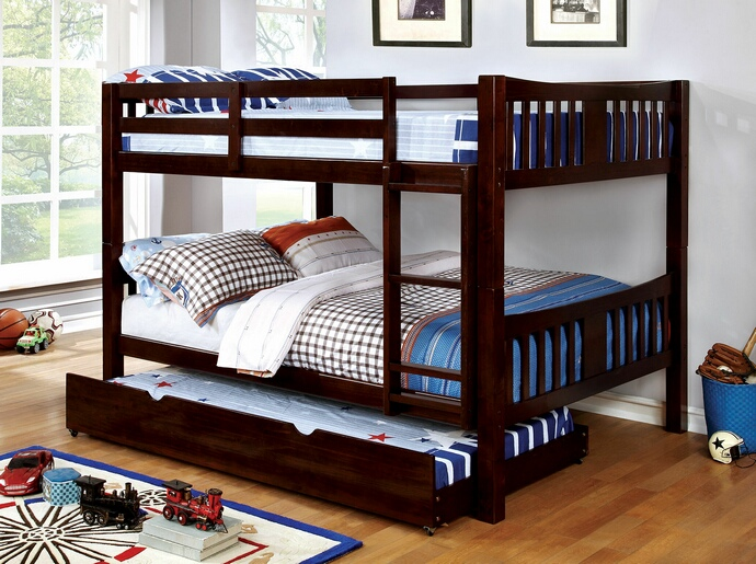 CM-BK929F-EX Cameron collection transitional style full over full dark walnut finish wood bunk bed set