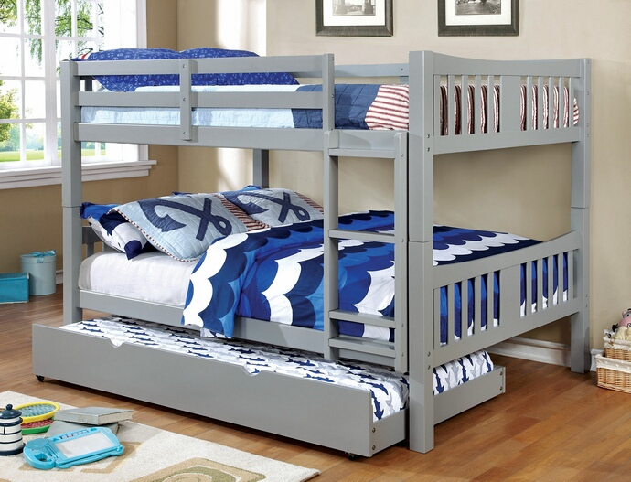 CM-BK929F-GY Cameron collection transitional style full over full gray finish wood bunk bed set