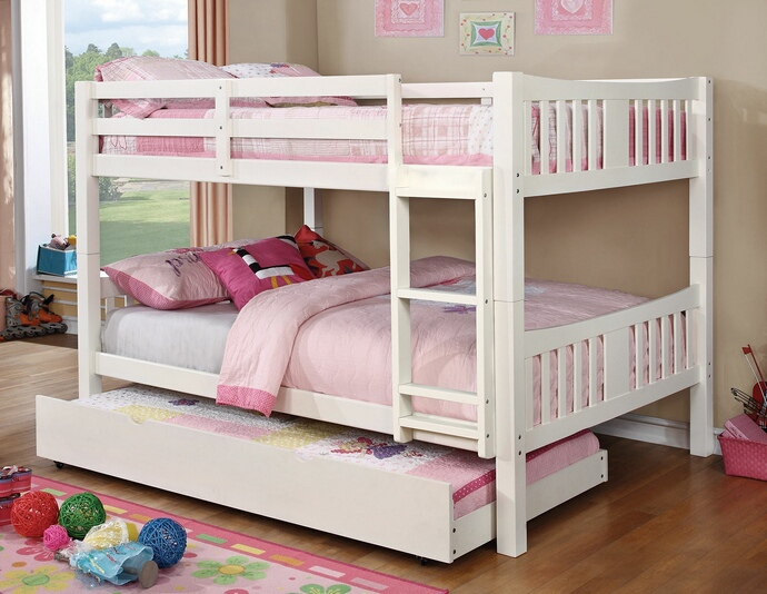CM-BK929F-WH Cameron collection transitional style full over full white finish wood bunk bed set