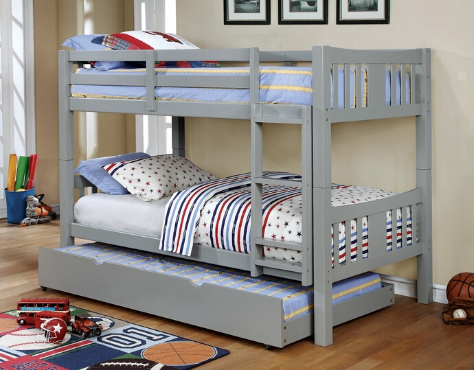 CM-BK929GY Cameron collection transitional style twin over twin gray finish wood bunk bed set