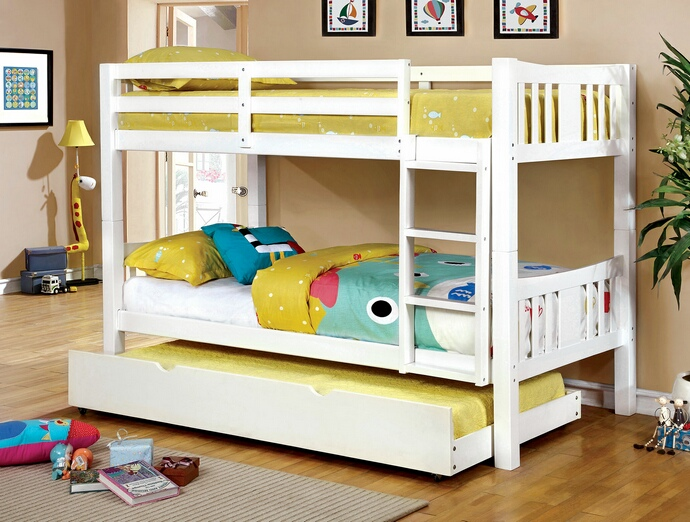 CM-BK929WH Cameron collection transitional style twin over twin white finish wood bunk bed set