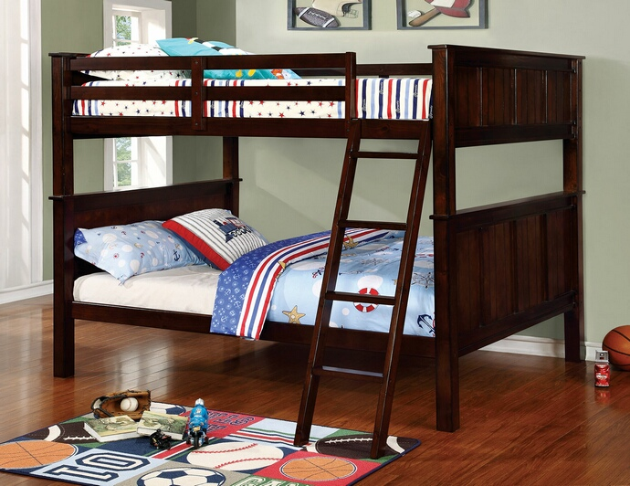 CM-BK930FF Gracie collection dark walnut finish wood full over full bunk bed