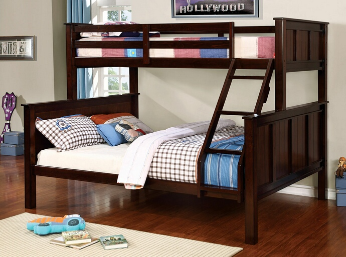 CM-BK930TQ Gracie collection dark walnut finish wood twin XL over queen bunk bed