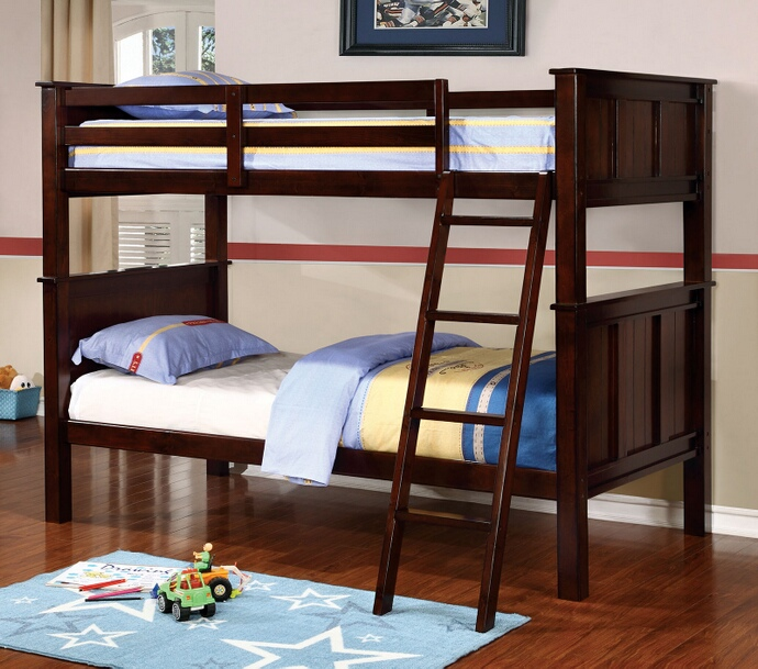 CM-BK930TT Gracie collection dark walnut finish wood twin over twin bunk bed