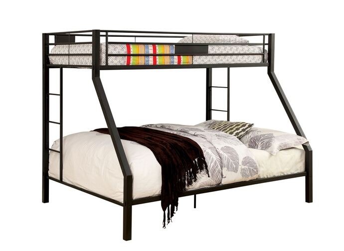CM-BK939 Claren collection black finish metal frame contemporary style Twin XL over Queen bunk bed set