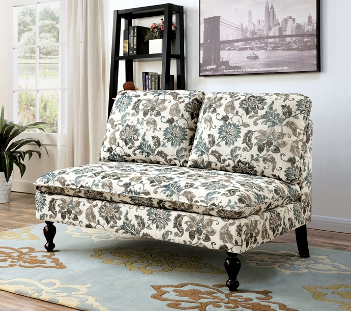CM-BN1248PN Kenzie collection floral printed padded fabric upholstered armless love seat
