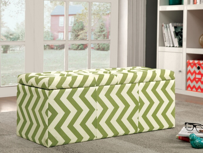 CM-BN6031GR Zahra i collection green zig zag chevron fabric upholstered storage ottoman with tufted top