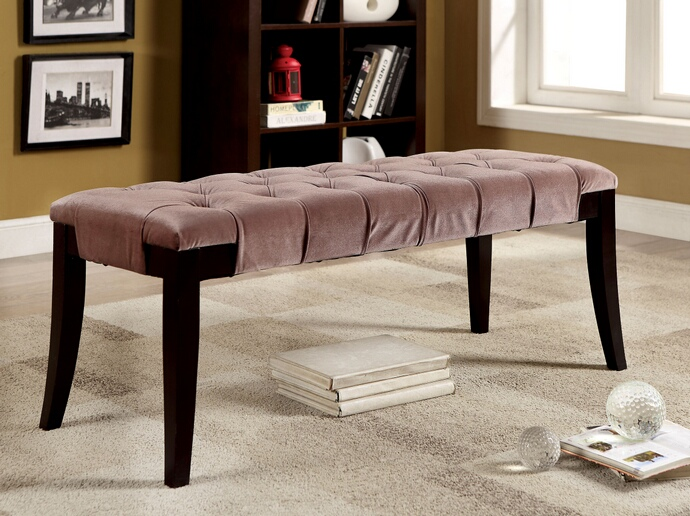CM-BN6201BR Milany collection brown padded flannelette button tufted seat and espresso wood legs bedroom bench